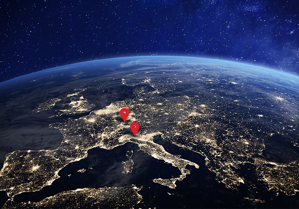 Satellite image of Europe with evidence from Italy and Germany highlighted