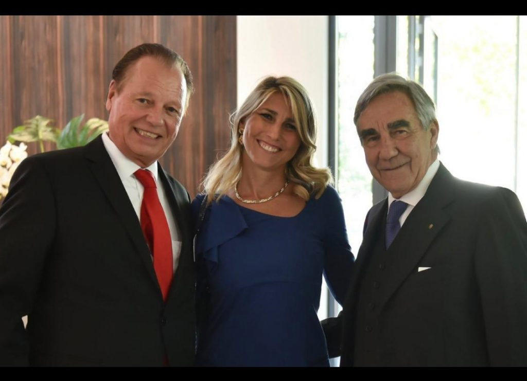 Albrecht Kohler, CEO at Schaltbau holding AG with Paola Foiadelli CEO at SPII Spa and Roberto Foiadelli chairman of the board at  SPII Spa during the Schaltbau 90th anniversary party in 2019