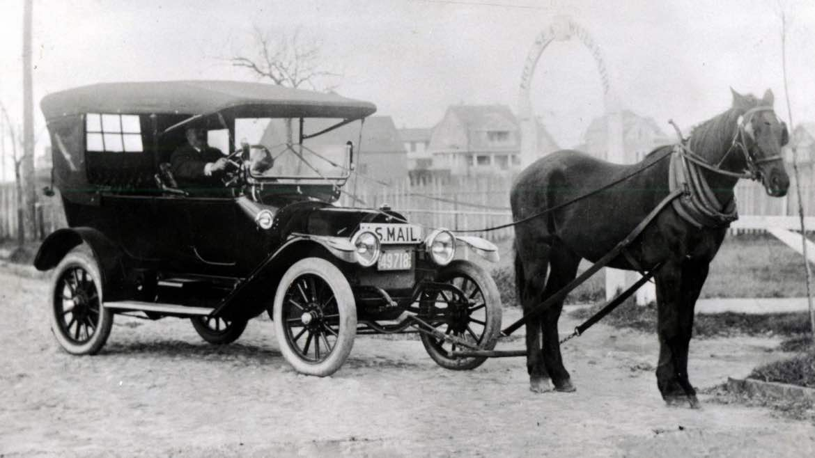 old car and horse